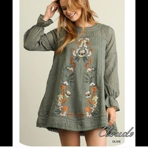 Olive Embroidered Tunic/Dress